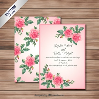 Pink wedding invitation card