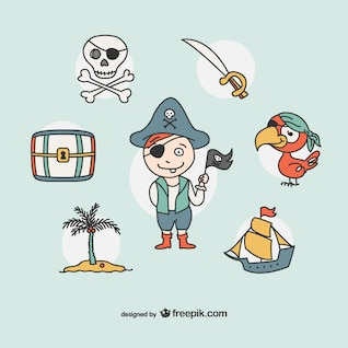 Pirate drawing icons collection
