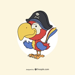 Pirate parrot drawing vector