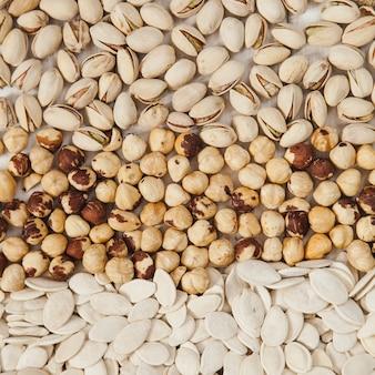 Pistachios, hazelnuts and pumpkin seeds