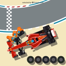 Pit stop top view