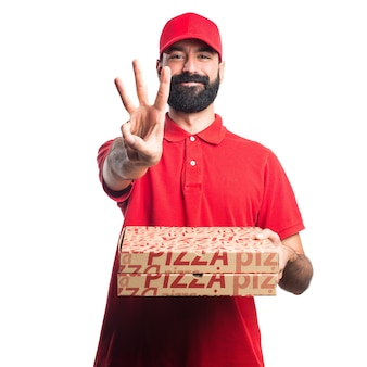 Pizza delivery man counting three