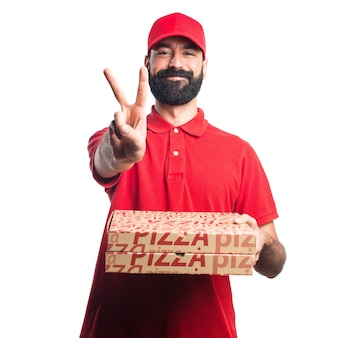 Pizza delivery man counting two