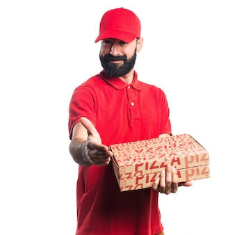 Pizza delivery man making a deal