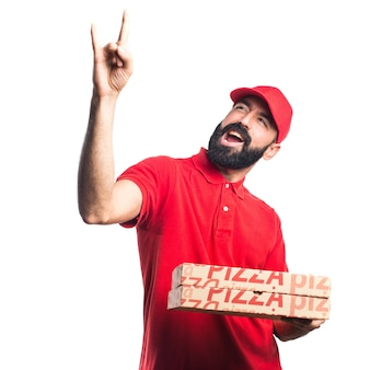Pizza delivery man making horn gesture