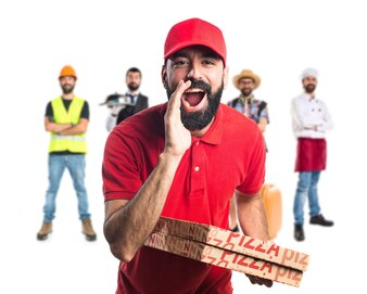 Pizza delivery man shouting