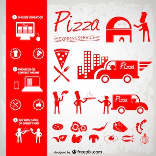 Pizza icons set free download