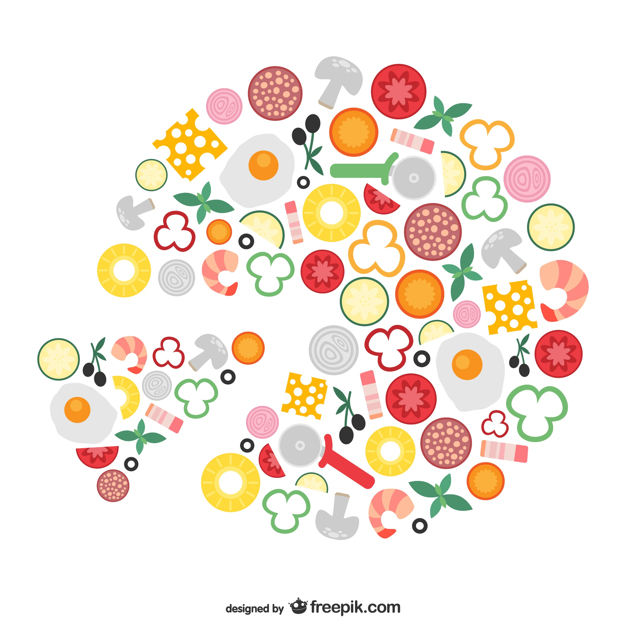 Pizza ingredients conceptual vector