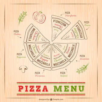 Pizza menu drawing