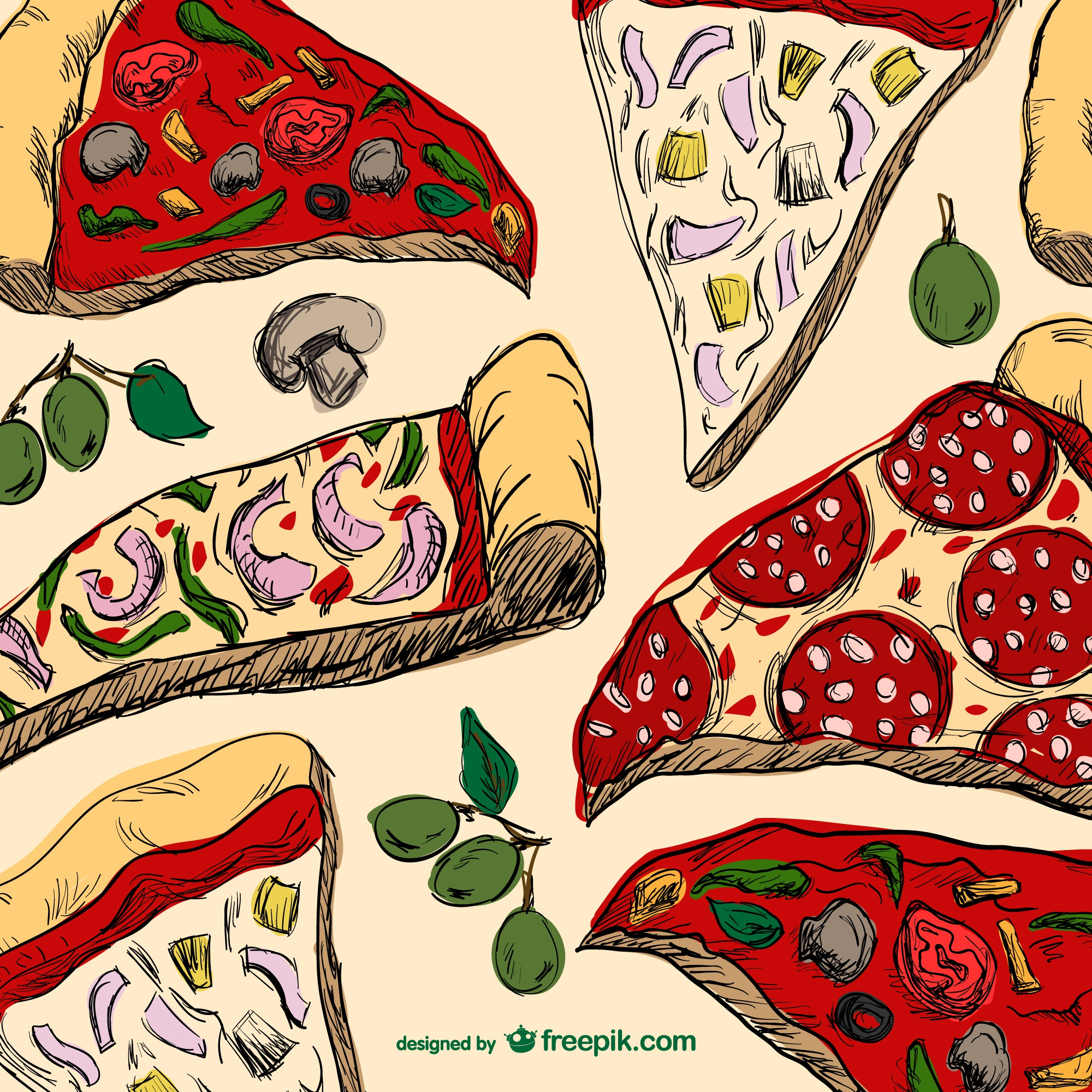 Pizza slices drawing