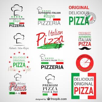Pizzeria logos set
