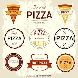 Pizzeria retro badges set