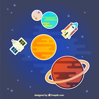 Planets, rocket and satellite