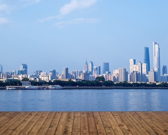 Planks with river and the city in the distance