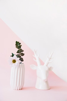 Plant and deer decoration