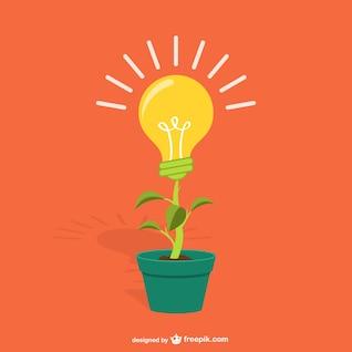 Plant with lightbulb cartoon