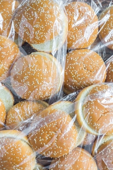 Plastic bags with burger buns