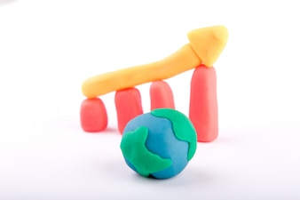 Plasticine of  global business growth bar graph