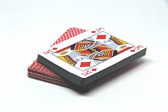 Playing cards pack on white background