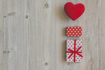 Plush heart and gift boxes