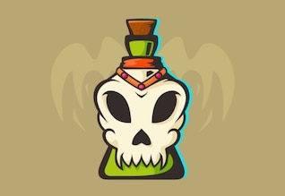 Poison potion decorated with skull