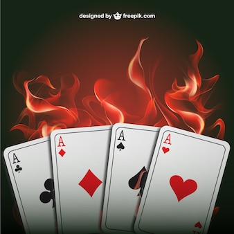 Poker aces with flames