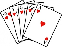 Poker cards with hearts