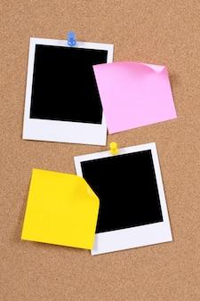 Polaroid photos on bulletin