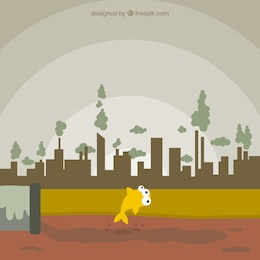 Polluted city concept