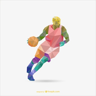 Polygon origami basketball vector