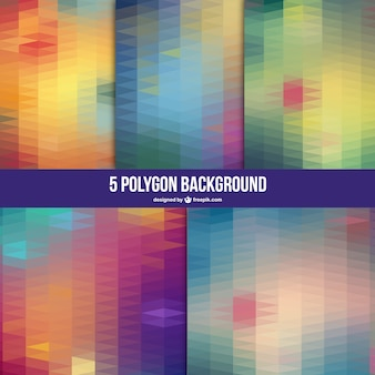 Polygon vector backgrounds set