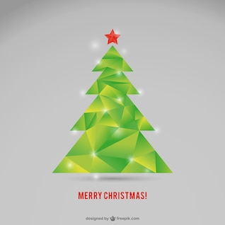 Polygonal Christmas tree vector