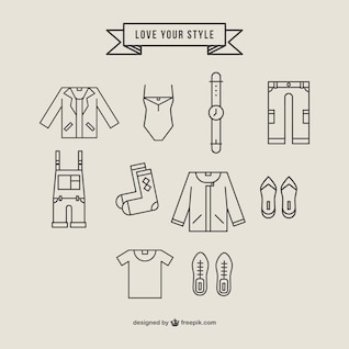 Polygonal clothing icons set