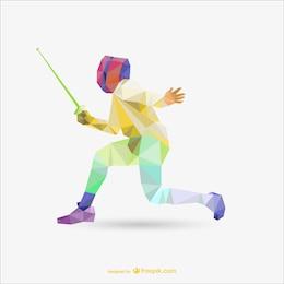 Polygonal color fencing vector