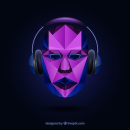 Polygonal face with headphones