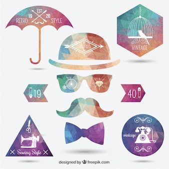 Polygonal hipster insignias