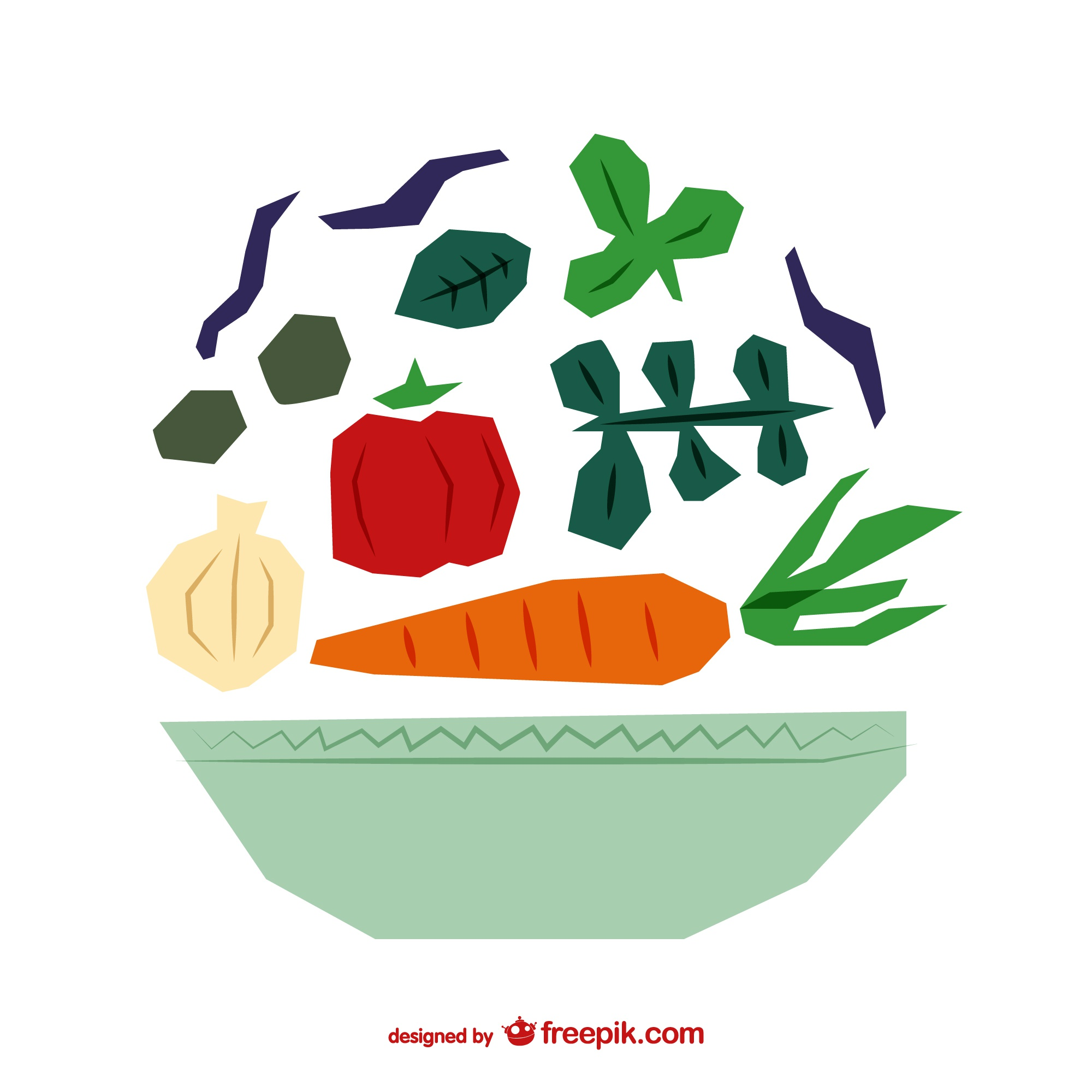 polygonal salad vector illustration