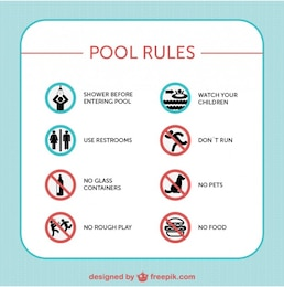 Pool safety rules vector signs