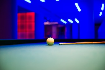 Pool table with white ball