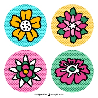Pop art flower icons