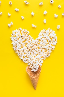 Popcorn heart and waffle cone