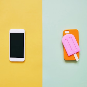 Popsicle case for smart phone on colorful background, minimal design