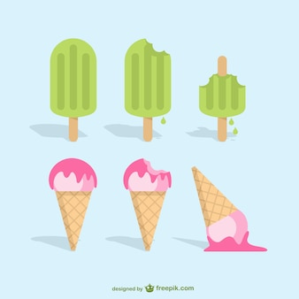 Popsicles and ice crean vector