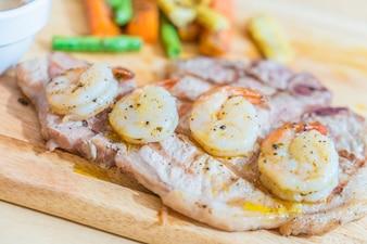 Pork steak with shrimp