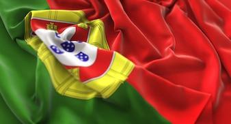 Portugal Flag Ruffled Beautifully Waving Macro Close-Up Shot