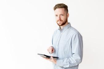 若い、ビジネスマン、計算機、