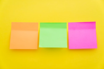 Post its in three colors