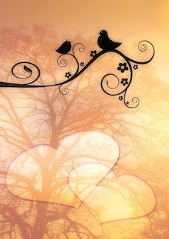 Postcard twitter love bird romance branch stalk