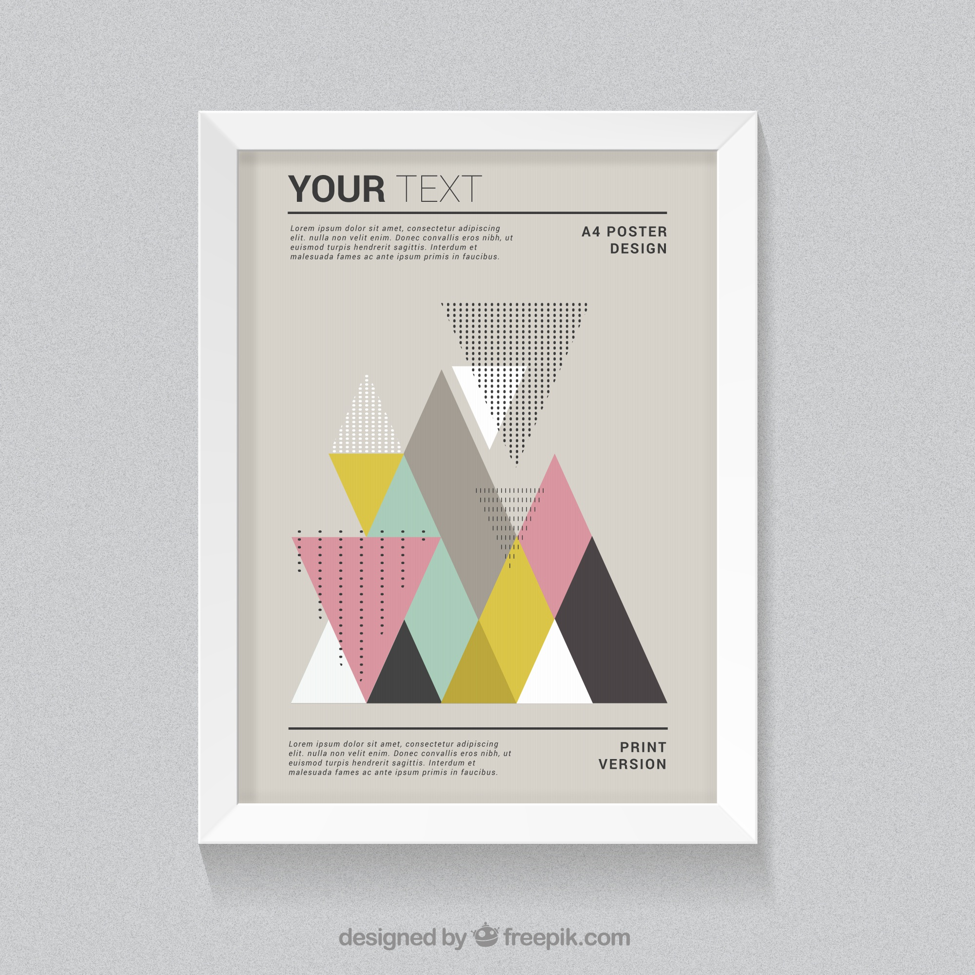 Poster with colorful triangles