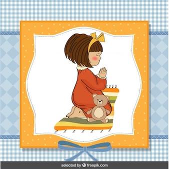 Praying girl illustration